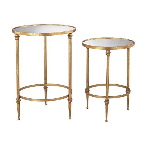 351-10236/S2 Alcazar Accent Tables In Antique Gold And Mirror Antique Gold