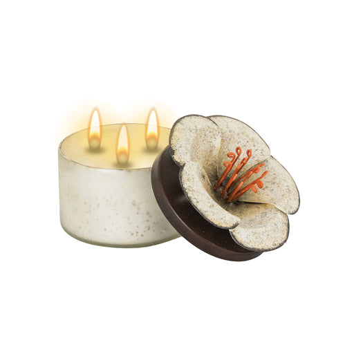 447327 Hopi Double-Wick Candle Antique Silver, Cream
