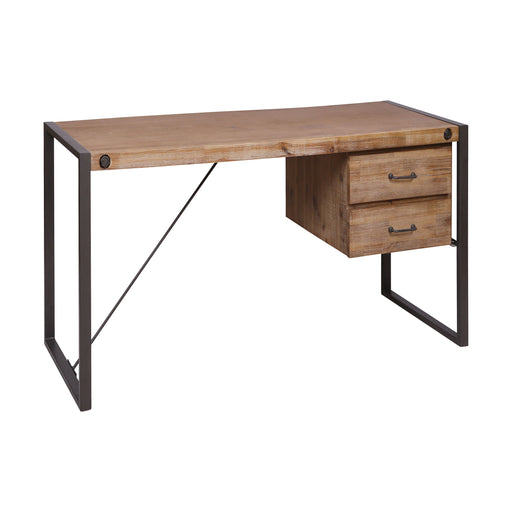 76352 Armour Square Two-Drawer Desk Kara Brushed Saw Cut Wood, Grey Bronze Metal