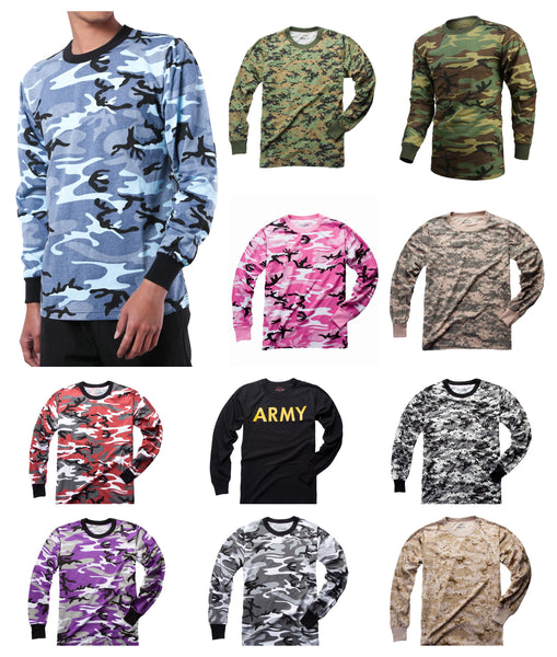 Mens Army Style Long Sleeve Camouflage T-Shirt Tee