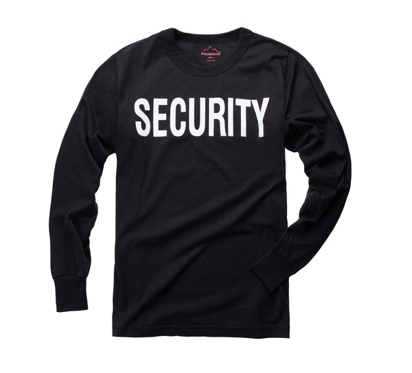 "Mens Army Style Long Sleeve ""SECURITY"" T-Shirt Tee"