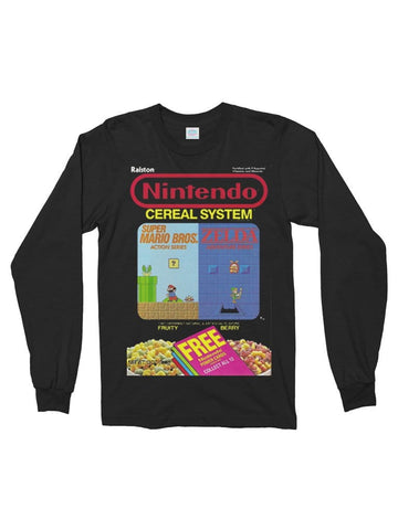 nintendo cereal cotton long sleeve t