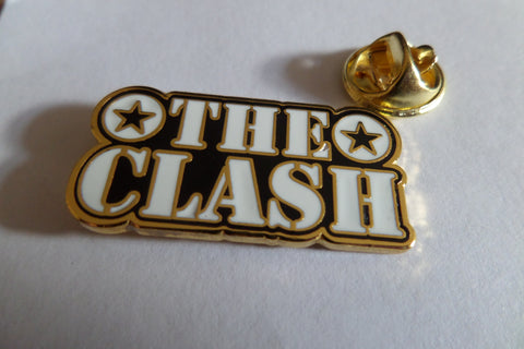 THE CLASH gold/b&w stencil logo PUNK METAL BADGE
