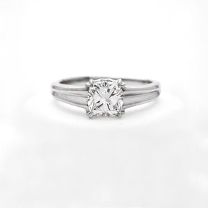18K White Gold Cushion Solitaire Engagement Ring