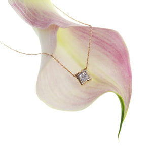 "Frederic Sage 14K pink gold ""Firenze"" clover pendant with five diamonds"
