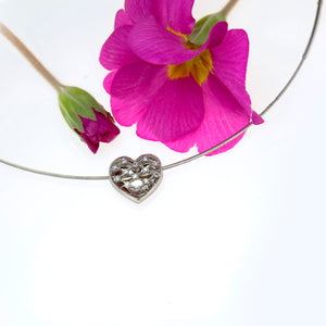 14K and 18K White Gold Diamond Heart Necklace