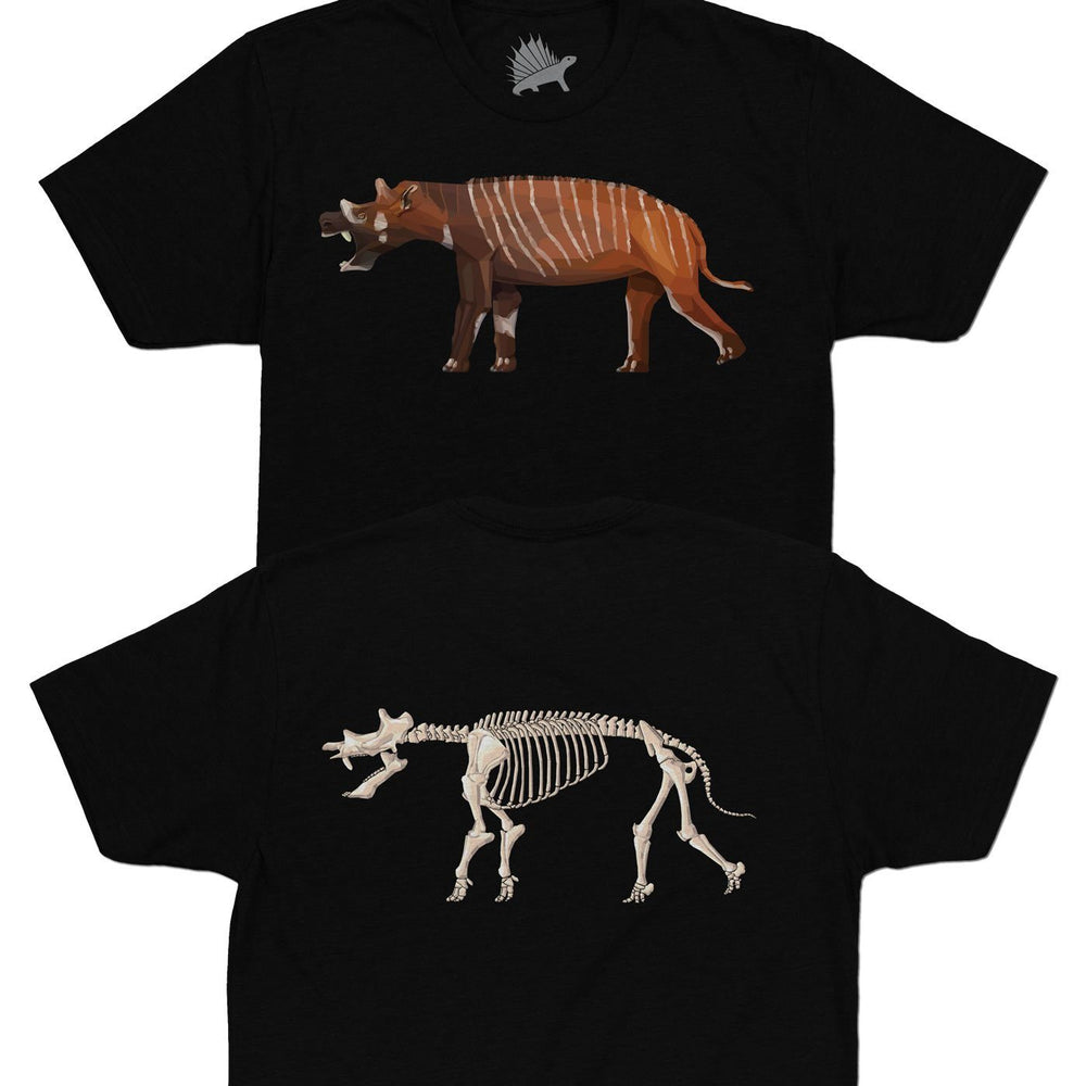 Uintatherium Fossil Fusion™ Adult Mammal T-Shirt Black - Permia