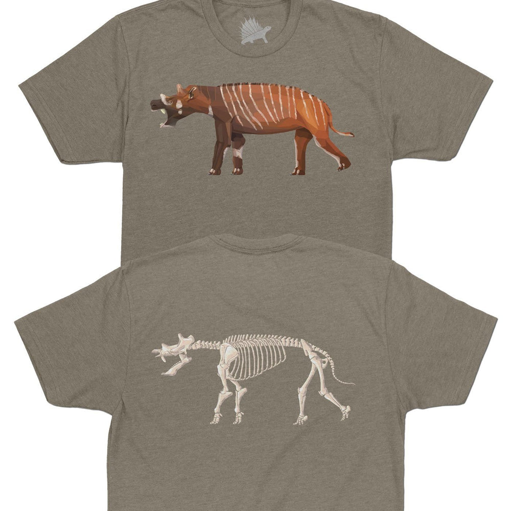 Uintatherium Fossil Fusion™ Adult Mammal T-Shirt Warm Gray - Permia