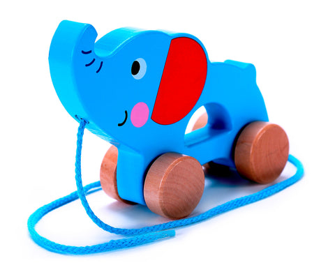 Adorable Elephant Wooden Push & Pull Along Toy for Baby & Toddler - Rolls Easy with a Sturdy String