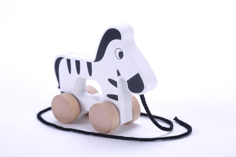 Adorable Zebra Wooden Push & Pull Along Toy for Baby & Toddler - Rolls Easy, Sturdy String Attached