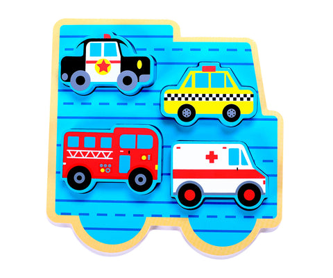 "Small 4 Piece Vehicle & Travel Wooden Chunky Puzzle with ""Easy-Hold"" Colorful Solid Wood Pieces w/ Fire Truck, Police Car"