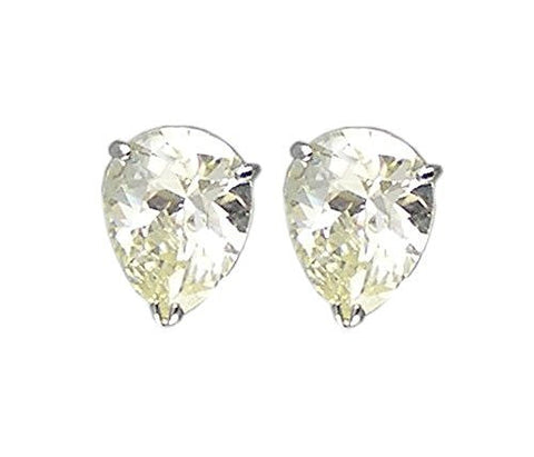 Rhodium Plated Citrine Pear Shaped Solitaire Cubic Zirconia Earrings