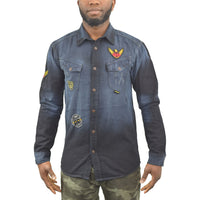 Mens Denim Shirt Juice Dealer Casual Top - Kandor Clothing Company Ltd UK