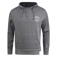 Mens Hoodie Crosshatch Conways Button Neck Sweatshirt  Hooded Top - Kandor Clothing Company Ltd UK