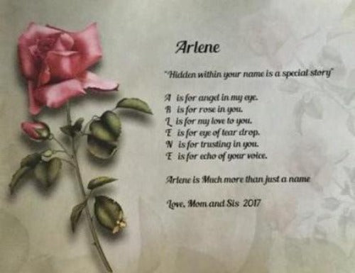 Make Your Own Acrostic Name Poem, Acrostic poem gift, Rose background with your own written acrostic poem, Personalized Gifts, personalized-unique-gifts