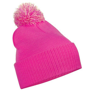 South Uist Pom Pom Beanie in Fuchsia/Off White