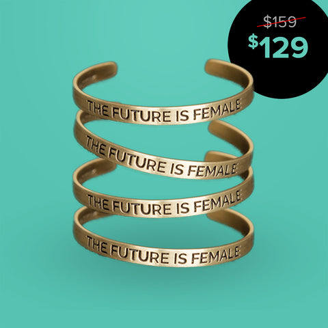 'The Future is Female' Cuff - Set of Four (Gold)