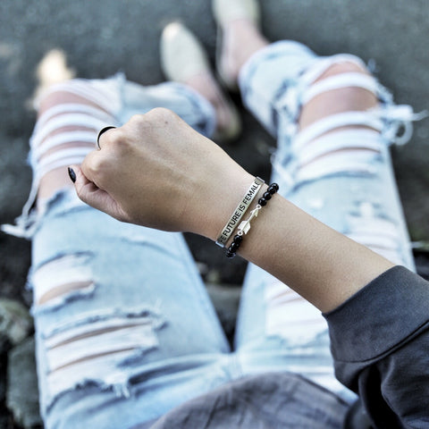 'Future is Female' + Onyx Arrow Bracelet Set