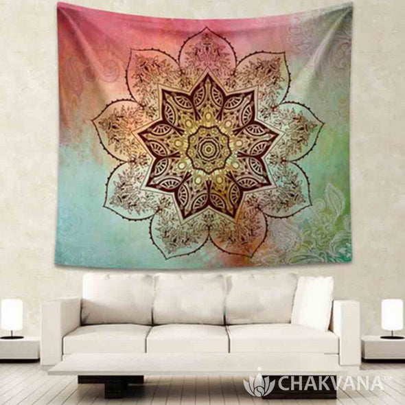 Watercolor Flower Mandala Tapestry
