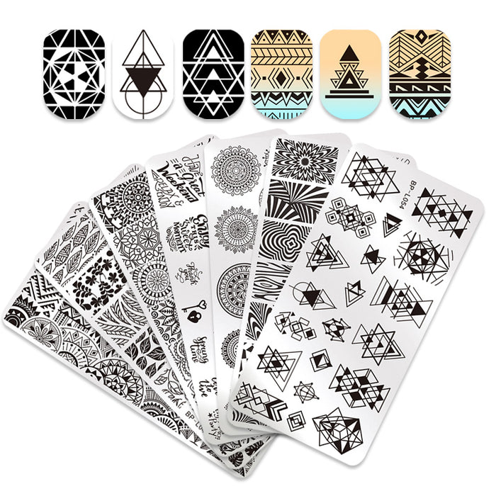 12*6cm Rectangle Nail Stamping Plates Template Beautiful Design Manicure Nail Art Stamp Image Plate Set