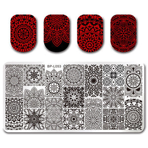 12*6cm Rectangle Nail Stamping Plates Template Beautiful Design Manicure Nail Art Stamp Image Plate Set-GoAmiroo Store