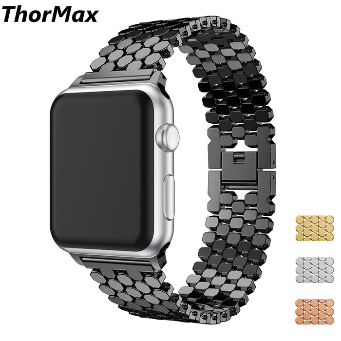 Fashion Scales lines Watchband Link buckle Octagon Stainless Steel Strap bracelet band For Apple watch 38/42mm Series 1/2/3