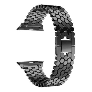 Fashion Scales Lines Watchband Link Buckle Octagon Stainless Steel Strap Bracelet Band For Apple Watch 38/42Mm Series 1/2/3 - Goamiroo Store
