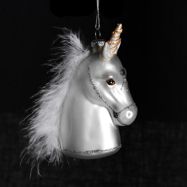 Unicorn Bauble With Feather Maine