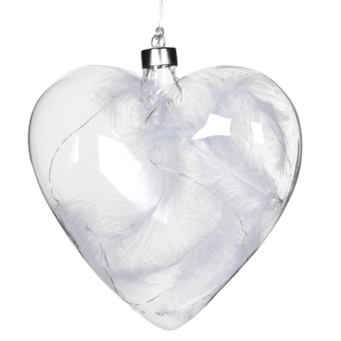 Lit White Feather Hanging Heart