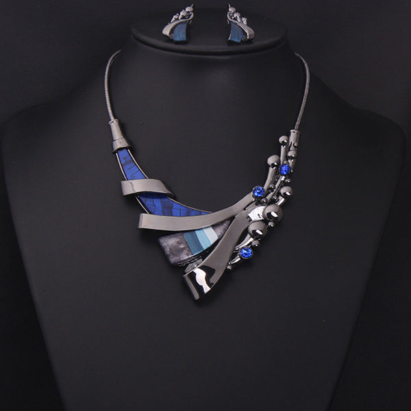 Blue Gems Necklace Set