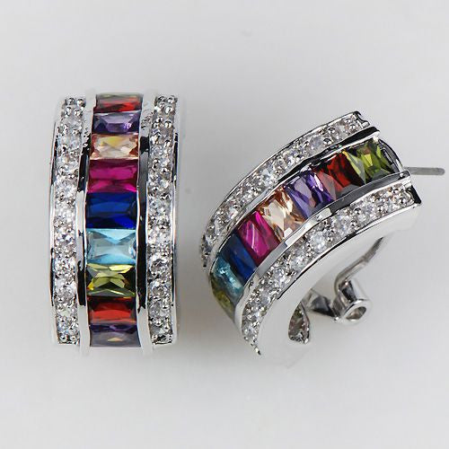 Multi Color Topaz Silver Earrings