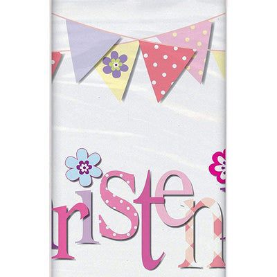 Christening Kids Party Plastic Tablecover Pink-Pack of 1