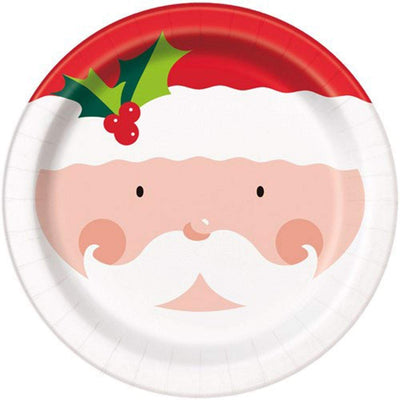 Christmas Holly Santa Party Plates-Pack of 8