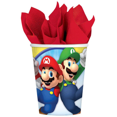 Super Mario Bros Kids Birthday Paper Cups 266ml - Pack of 8