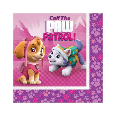 Paw Patrol Pink Kids Party Luncheon Napkins - Pack of 20