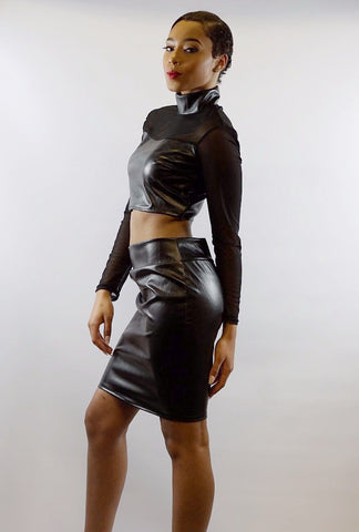 Chiffon Accented Liquid Leather Two Piece Cropped Top and Skirt Set - BoujichickFashions