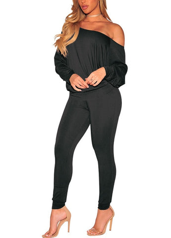 2-Piece off the shoulder Women Solid Pant Suit - BoujichickFashions