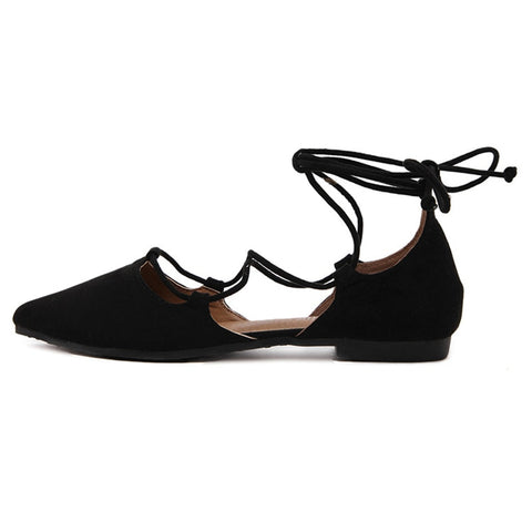 Elegant Ballet Style Ankle Lace and Cross Tie Flats - BoujichickFashions