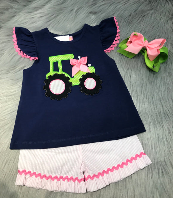Tractor Applique Girls Short Set