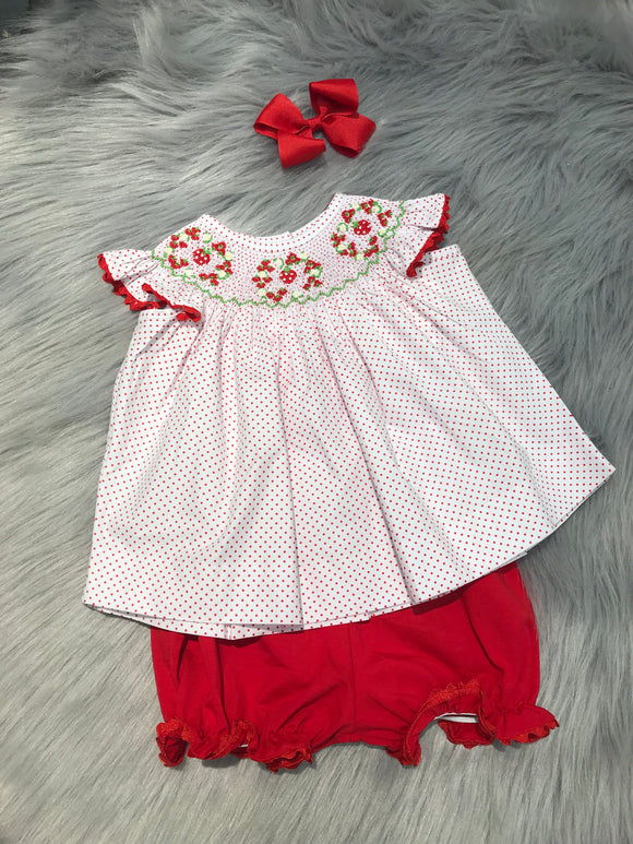 Strawberry Smocked Bloomer Set