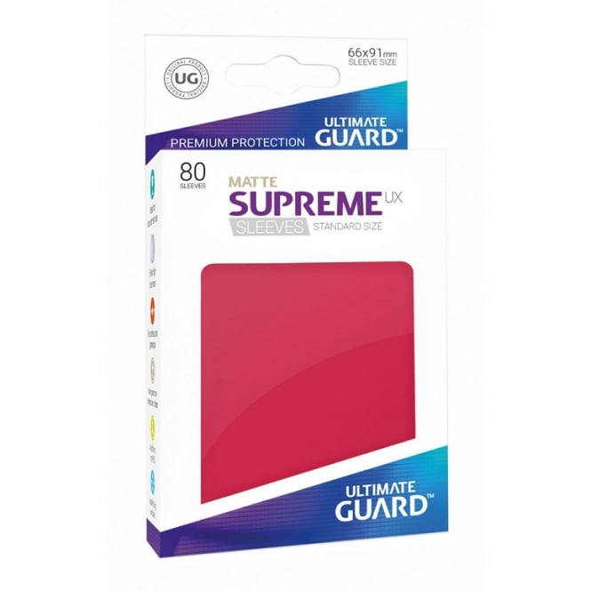 ltimate Guard Supreme UX Matte Sleeves Standard Size (80) red
