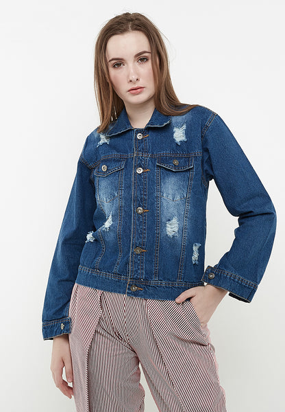 Flower Denim Jacket - Blue