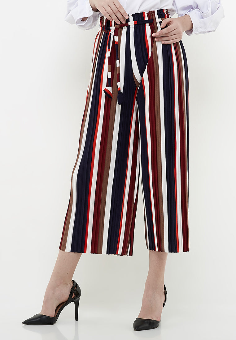 Midi Culottes Pants (Stripe Navy-Brown-Maroon-White-Orange)