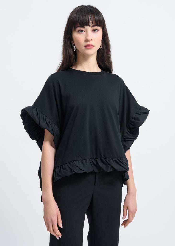 Black Bow Detail T-Shirt
