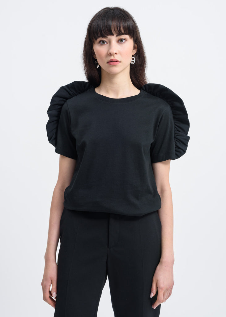 Black Bow Shoulder Detail T-Shirt