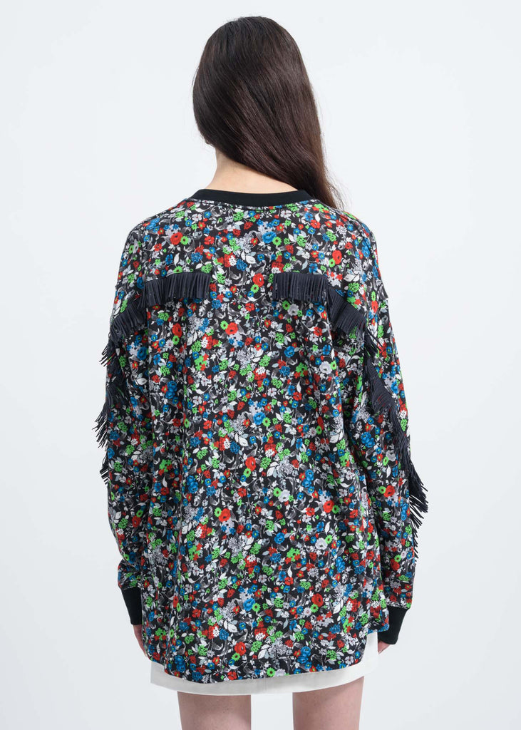 Black Multi-color Fringes Long Sleeve