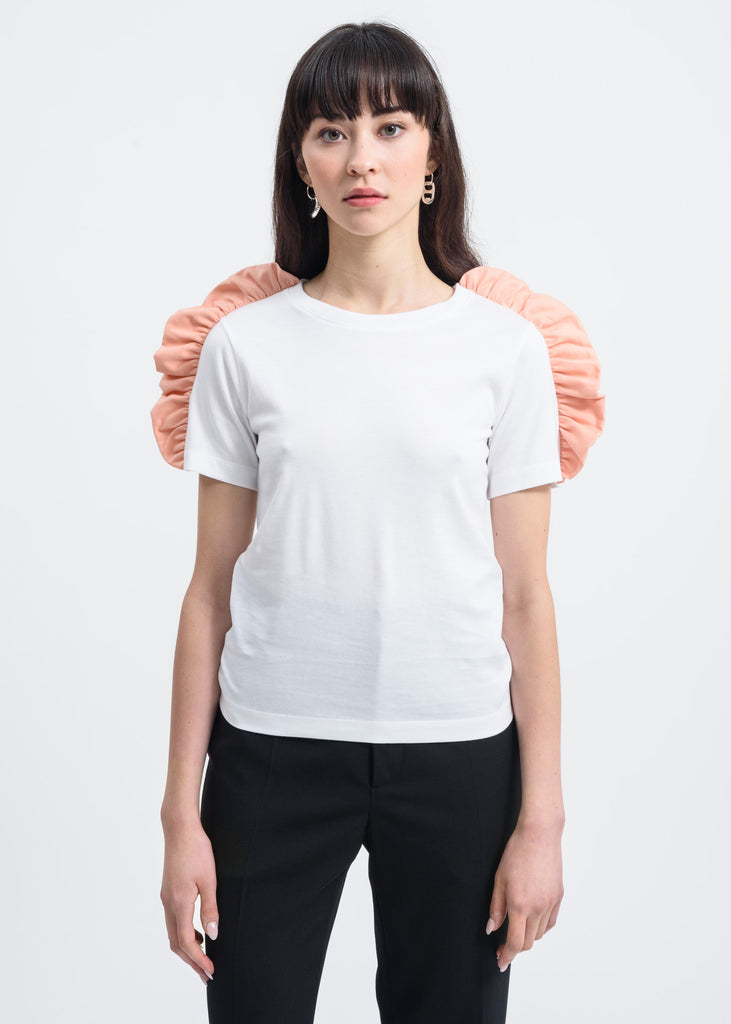 Pink Bow Shoulder Detail T-Shirt