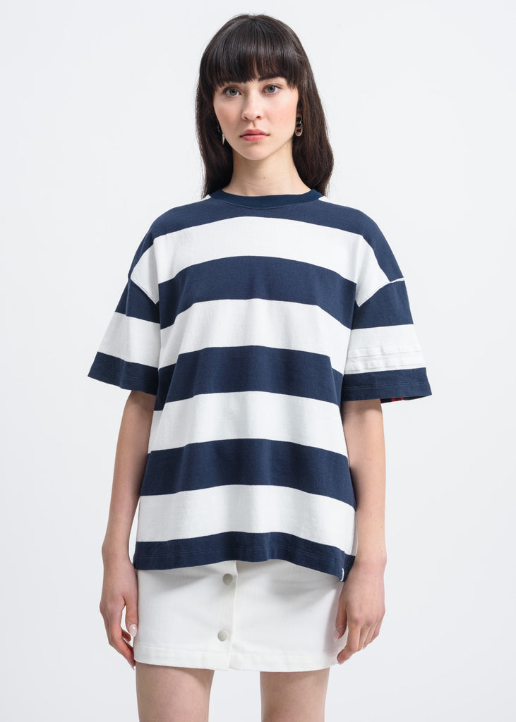 White Large Stripe T-Shirt