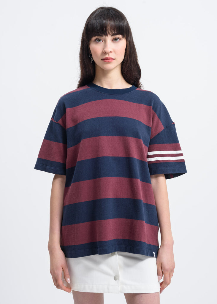 Wine Red Large Stripe T-Shirt