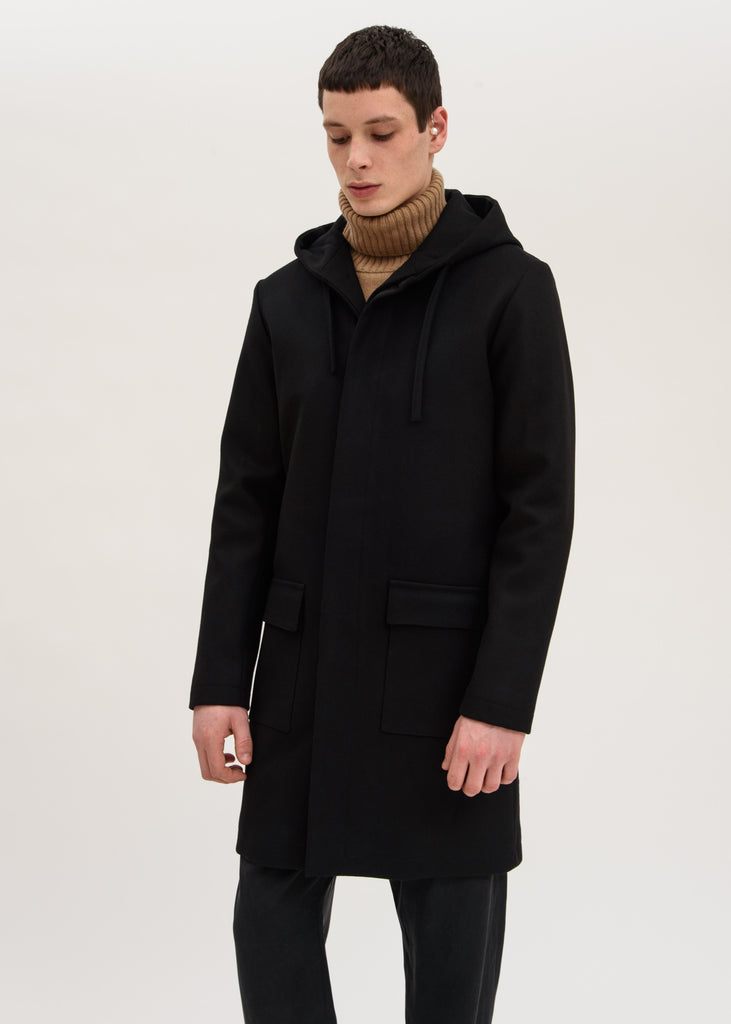Harmony, Black Mathieu Hooded Coat, 017 Shop